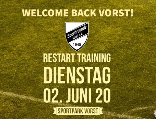 Wiederaufnahme des Trainingsbetriebs ab dem 2. Juni