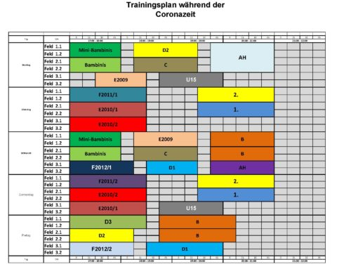 Neue Trainingszeiten gültig ab 08. Juni 2020